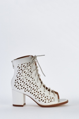 Laser Cut Lace Up Boots