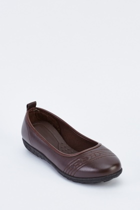 Stitched Front Faux Leather Shoes