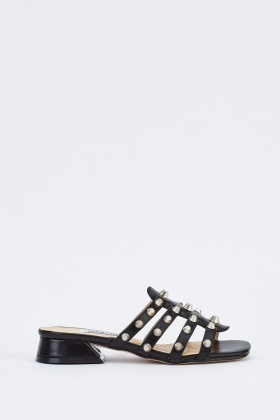 Studded Open Toe Block Heel Sandals