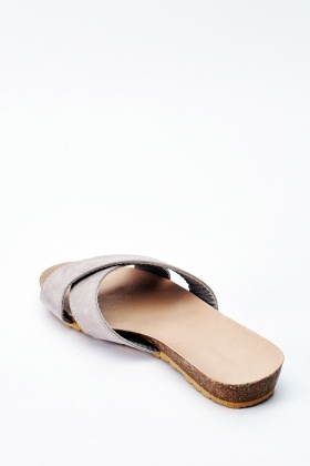 Suedette Cross Over Flat Sandals