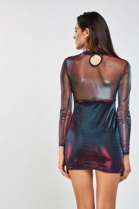 Contrasted Metallic Mesh Bodycon Dress