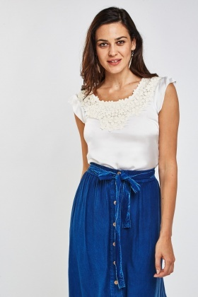 Embroidered Crochet Sateen Top