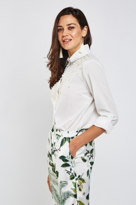 Faux Pearl Embellished Shirt