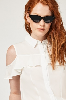 Frilly Cut Out Shoulder Top
