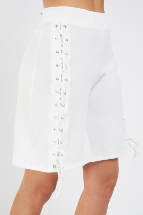 Lace Up Long Line Shorts