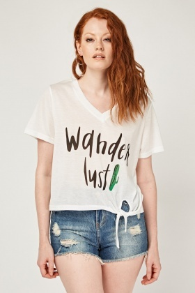 Slogan Print Tie Up Hem Top