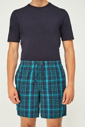 T-Shirt And Checked Pyjama Shorts Set