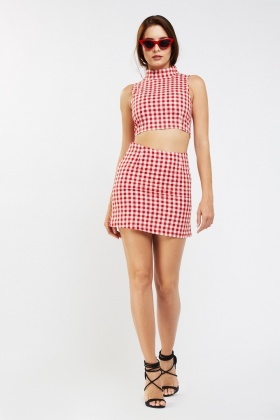 Turtle Neck Gingham Top And Skirt Set