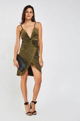 Twisted Lurex Plunge Wrap Dress