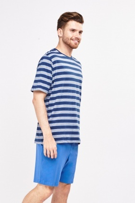 Blue Striped Top And Shorts Pyjama Set