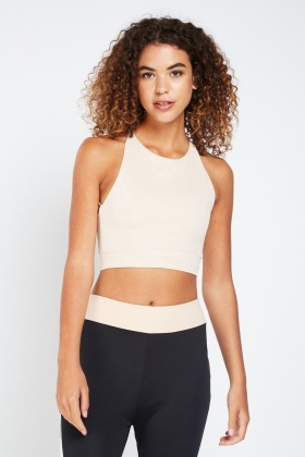 Contrast Sports Cross Back Crop Top