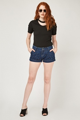 Encrusted Denim Hotpants