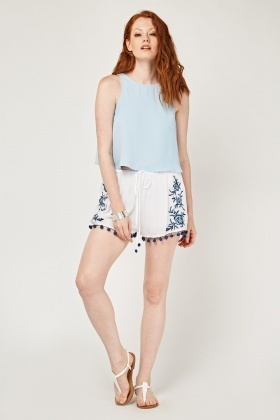 Flower Embroidered Pom Pom Trim Shorts