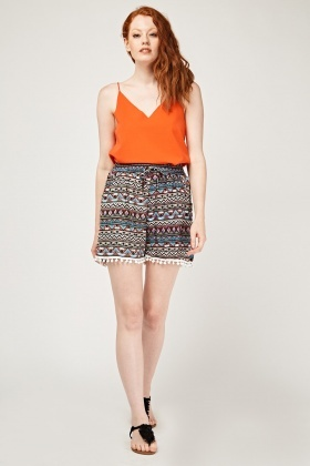 Geo Printed Crochet Trim Shorts