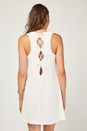 Lace Up Back Shift Dress