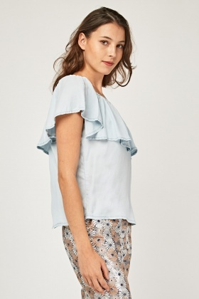 One Shoulder Ruffle Overlay Top