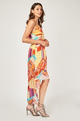 Printed Sheer Dip-Hem Maxi Dress