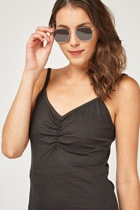 Ruched Front Rib Cami Top
