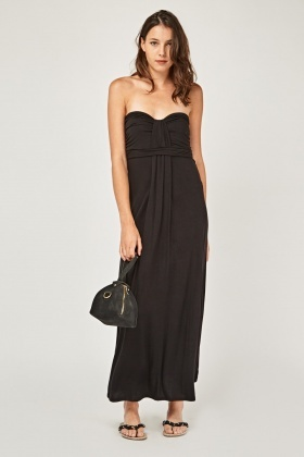 Strapless Ruched Front Maxi Dress