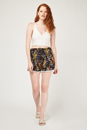 Tropical Print Casual Shorts