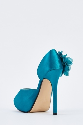 3D Sateen Flower Peep Toe Heels