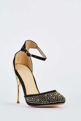 Encrusted Closed Toe Court Heels