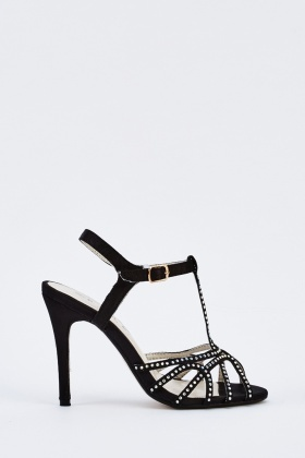 Encrusted Sateen Heeled Sandals