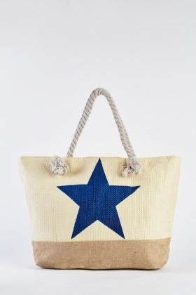Star Printed Weave Stitched Jute Bag