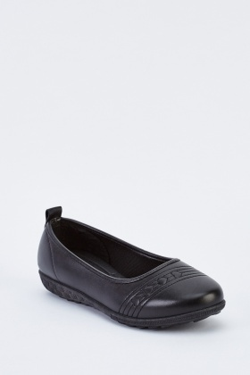 Stitched Slip On Flat Shoes