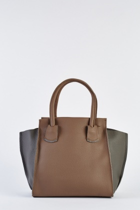 Two-Tone Textured Winged Handbag