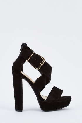 Velveteen Cross Strap Heeled Sandals