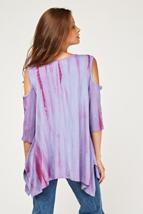Basic Dip Dyed Cold Shoulder Top