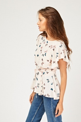 Butterfly Print Frilly Peplum Top