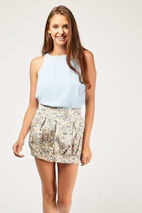 Calico Printed Mini Skirt
