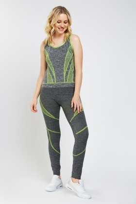 Contrasted Sports Tank And Leggings Set