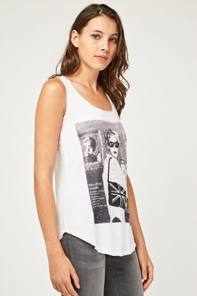 Encrusted Graphic Print Vest Top