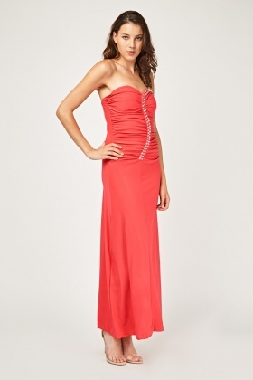 Encrusted Ruched Bandeau Maxi Dress