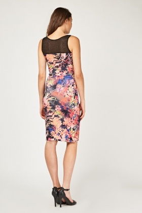 Flower Mesh Contrasted Midi Dress