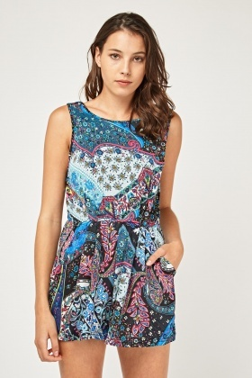 Mix Moroccan Print Playsuit