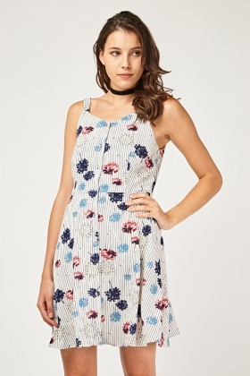 Mix Printed Slip-On Flared Dress