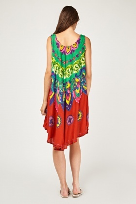Mixed Print Flared Tent Dress