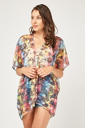Multi-Coloured Paisley Printed Lace Kimono