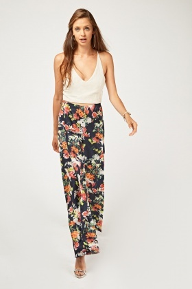 Printed Wide Leg Wrap Trousers