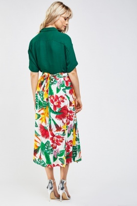 Tropical Print Midi Skirt