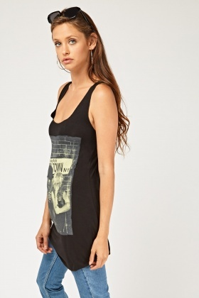 Graphic Printed Long Vest Top