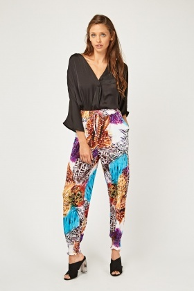 Mix Print Contrasted Tapered Joggers