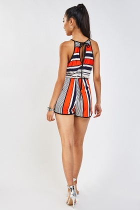 Multi Striped Halter-Neck Playsuit