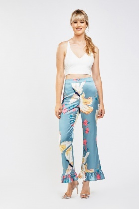 Oriental Printed Ruffle Flared Trousers
