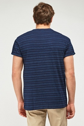 Striped Short Sleeve Indigo T-Shirt