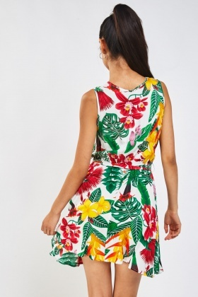 Tropical Floral Printed Wrap Dress